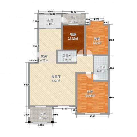 农大西区3室1厅2卫1厨150.35㎡户型图