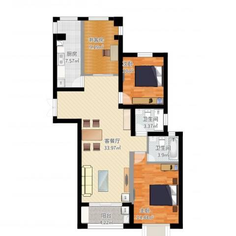 瑞景国际2室1厅2卫1厨128.00㎡户型图