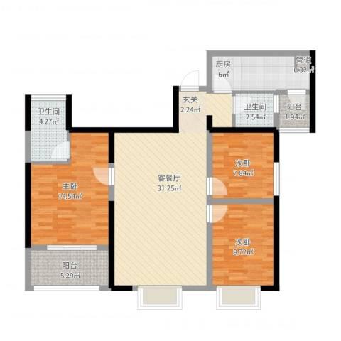 厦门千禧园3室1厅2卫1厨121.00㎡户型图