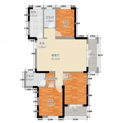 航宇・长江国际3室1厅2卫1厨129.00㎡户型图