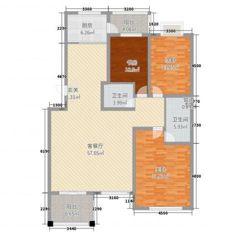 丰花园3室1厅2卫1厨182.00㎡户型图