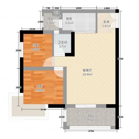 欧鹏K城2室1厅1卫1厨63.00㎡户型图