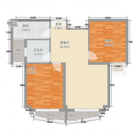翠湖天地2室1厅1卫1厨66.41㎡户型图