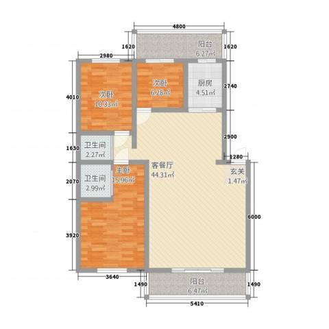 郁金花园3室1厅2卫1厨143.00㎡户型图