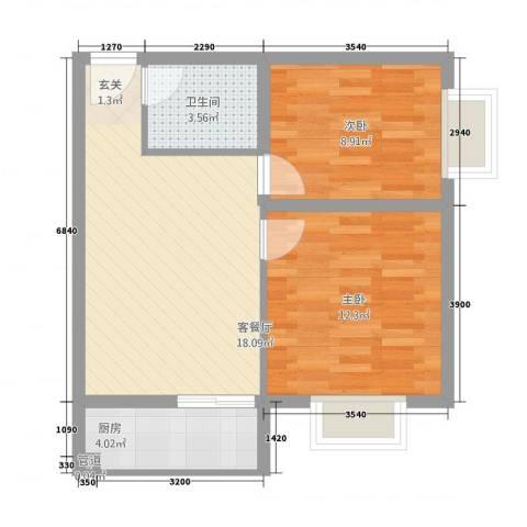 金域尚书苑2室1厅1卫1厨66.00㎡户型图