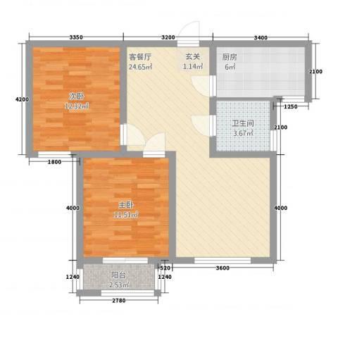 潜龙新村2室1厅1卫1厨88.00㎡户型图