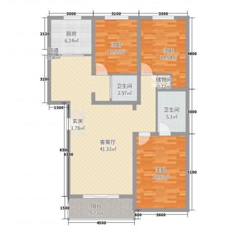 警苑家属楼3室1厅2卫1厨143.00㎡户型图