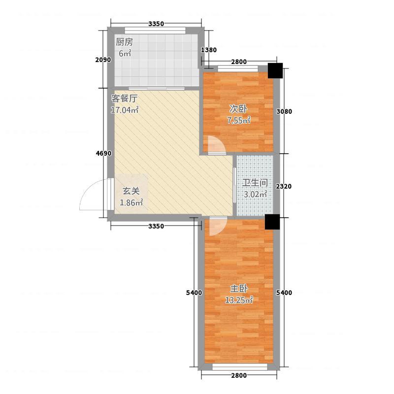 西城佳苑66.72㎡户型2室1厅1卫1厨