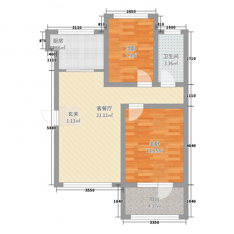 枫尚国际78.00㎡E户型2室2厅1卫1厨