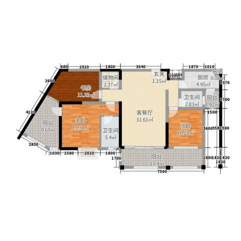 骏逸第一江岸3室1厅2卫1厨148.00㎡户型图