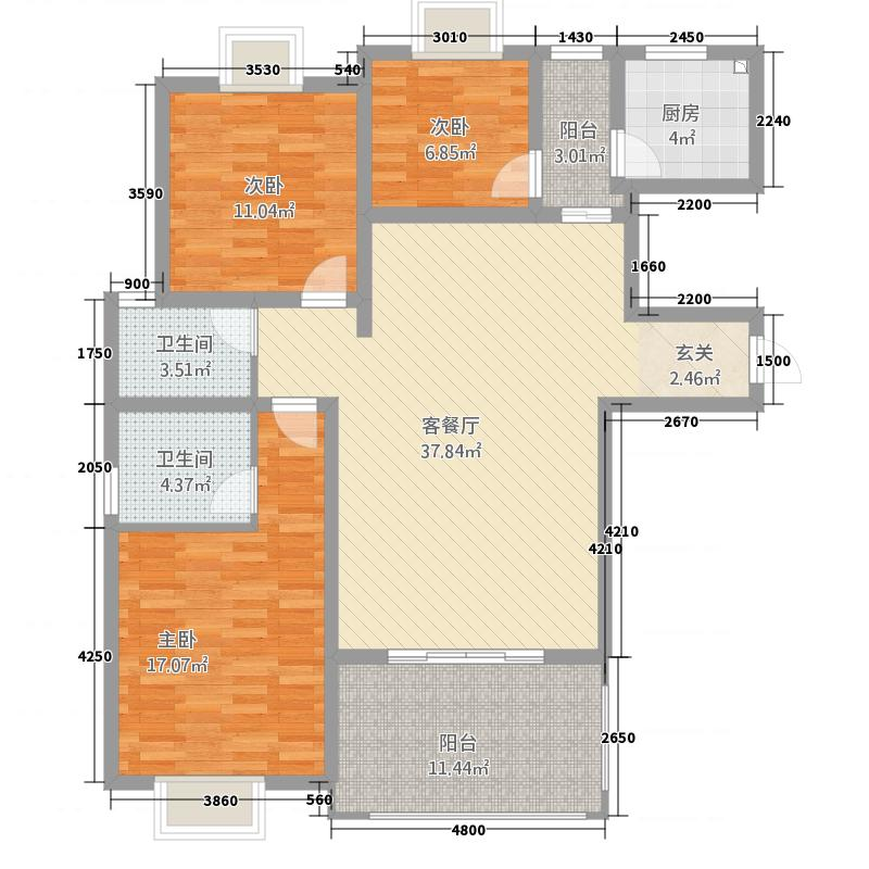 长源大厦126.00㎡户型3室