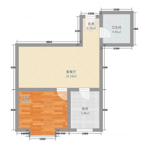 江南印象1室1厅1卫1厨66.00㎡户型图