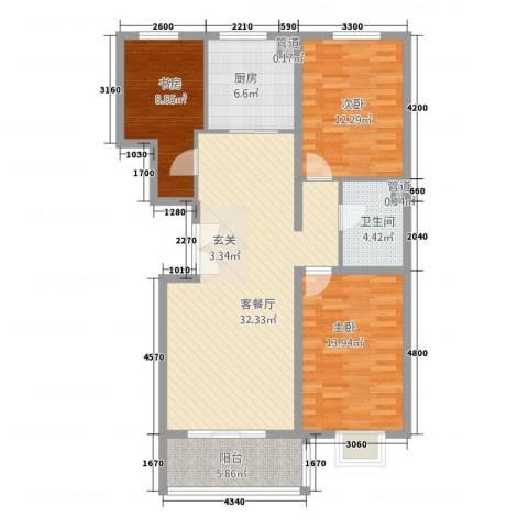华元名居3室1厅1卫1厨112.00㎡户型图