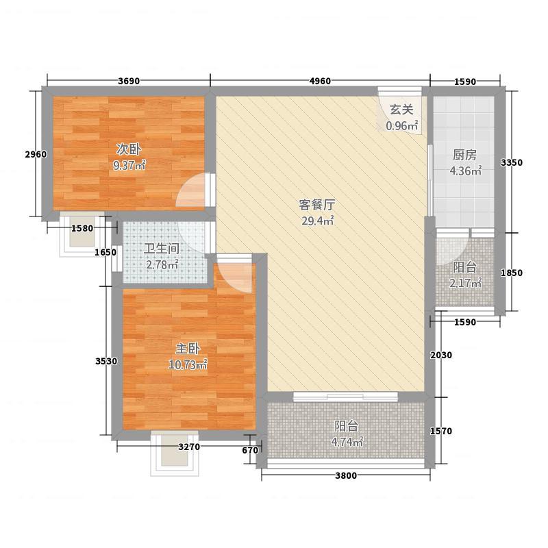 鼎鑫鑫悦广场1.57㎡7-B户型2室2厅1卫1厨
