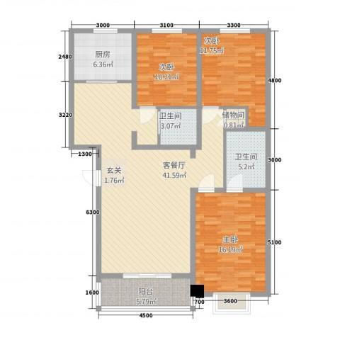 一中后街3室1厅2卫1厨144.00㎡户型图