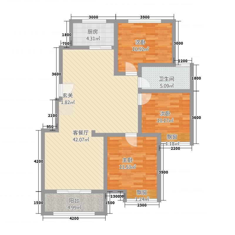 八号公馆12.00㎡户型3室2厅1卫1厨