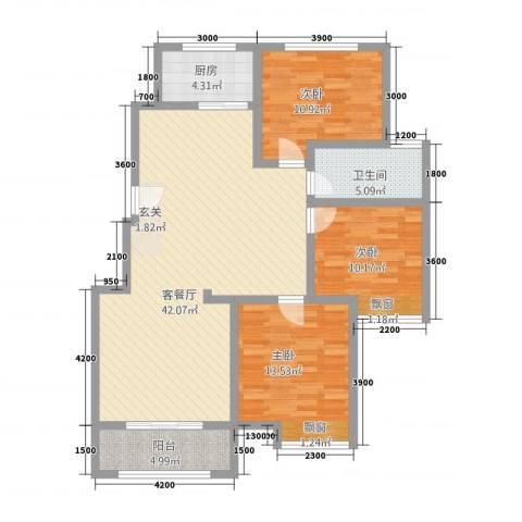 八号公馆3室1厅1卫1厨91.08㎡户型图