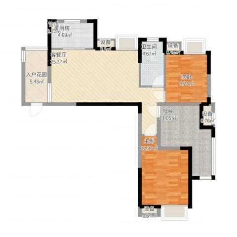 拓基沃野花园2室1厅1卫1厨110.00㎡户型图