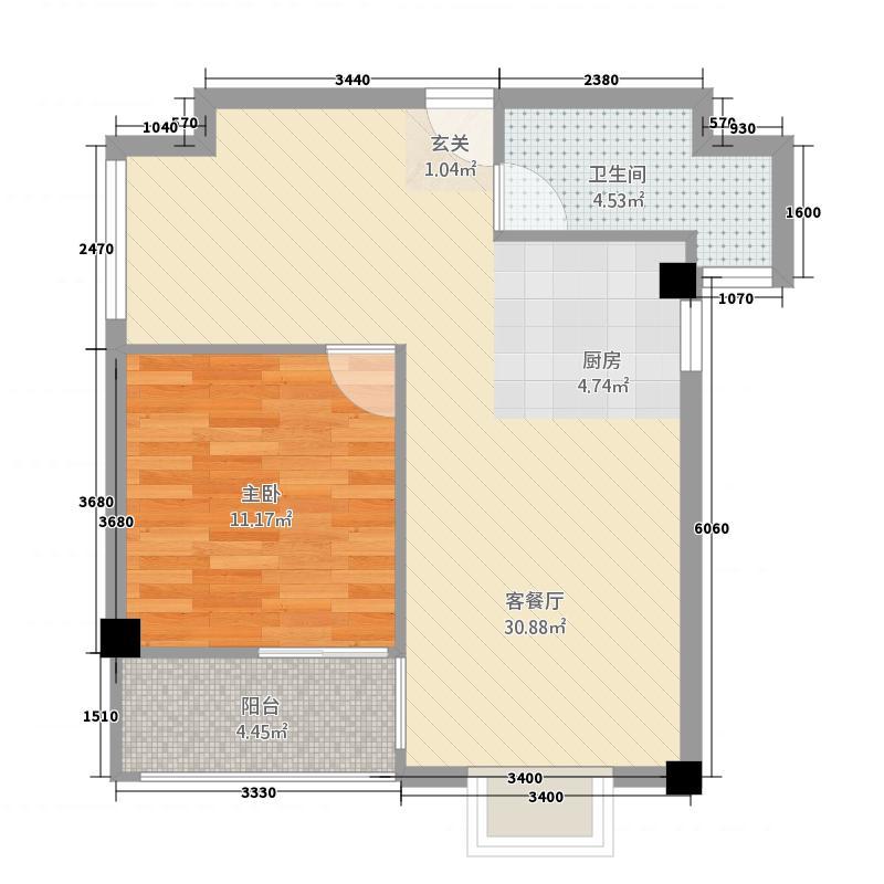 龙泉华庭7.00㎡C2户型1室1厅1卫1厨