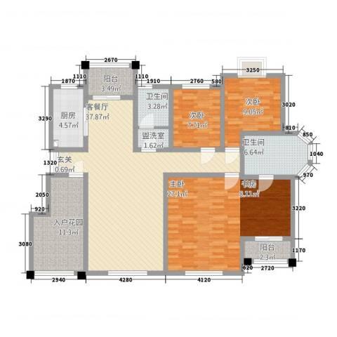 和源壹号公馆3室2厅2卫1厨169.00㎡户型图