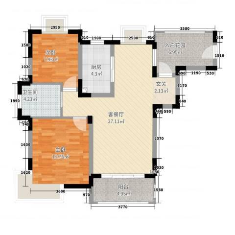 金季雅筑2室1厅1卫1厨99.00㎡户型图