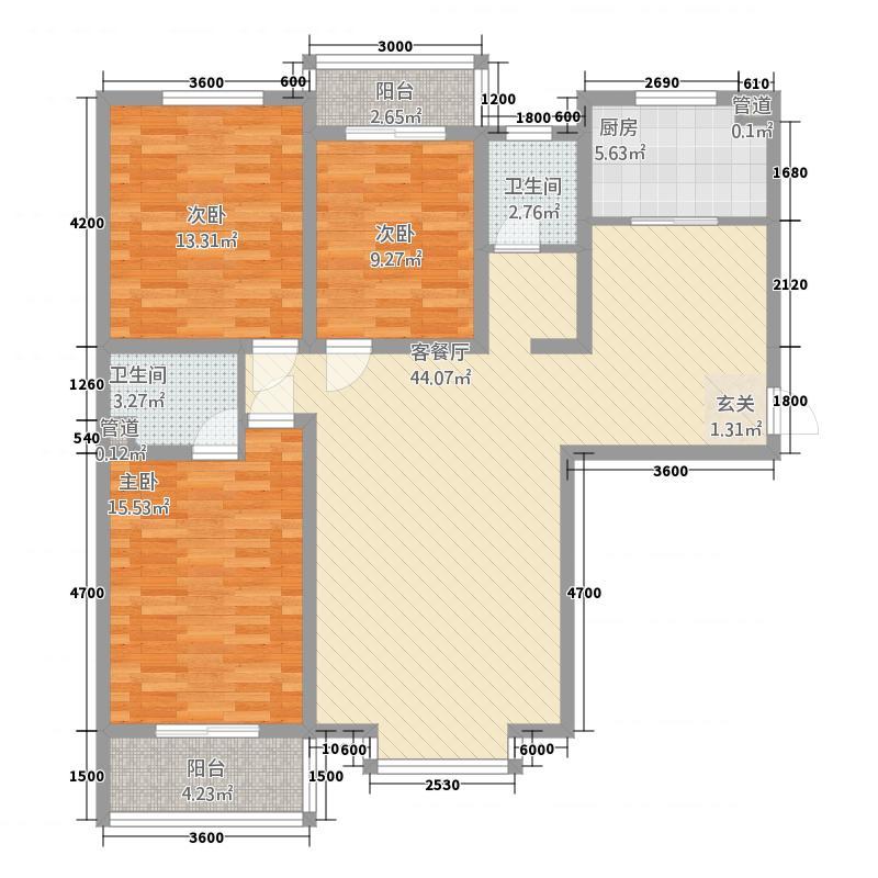 亚威金尊世家14.34㎡12号楼B1-3户型3室2厅2卫1厨