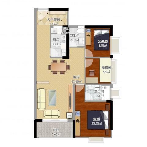 康和花园1室1厅2卫1厨104.00㎡户型图