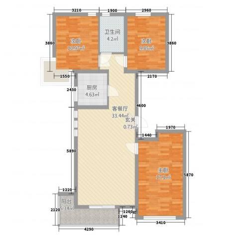 格林星城悦府3室1厅1卫1厨121.00㎡户型图