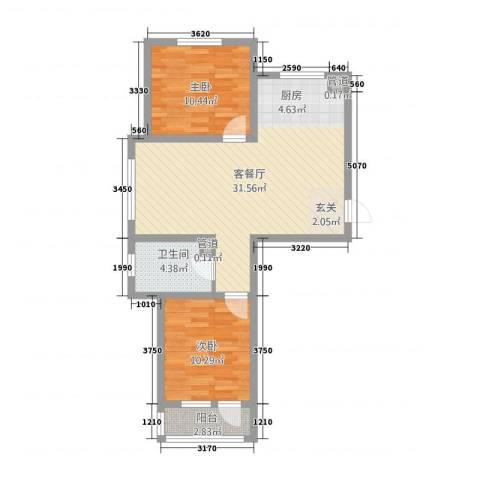 誉�华府2室1厅1卫0厨86.00㎡户型图