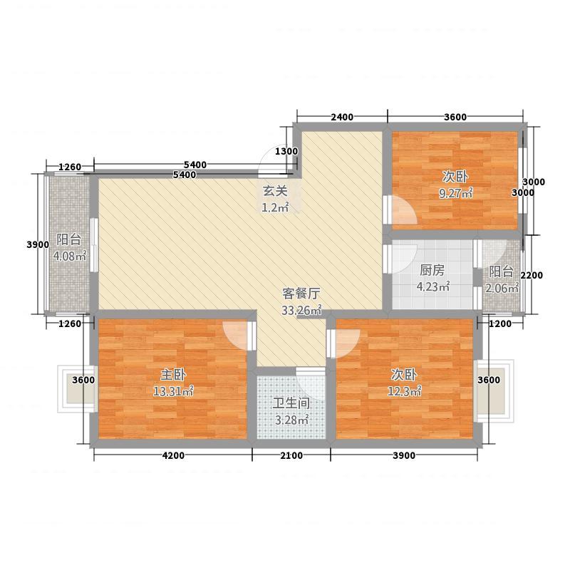 供电局312.20㎡小区户型3室2厅1卫1厨