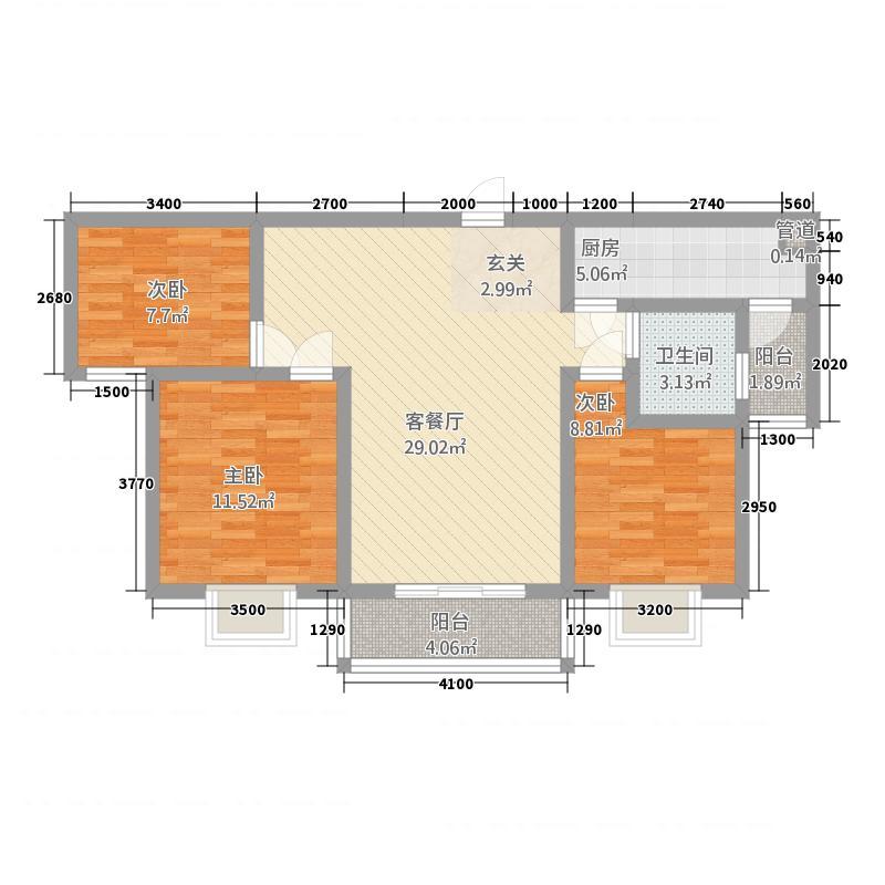 亚威金尊世家124.20㎡12号楼B1-2户型3室2厅1卫1厨