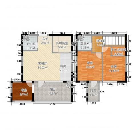 嘉联华铭座公寓3室1厅2卫0厨100.16㎡户型图