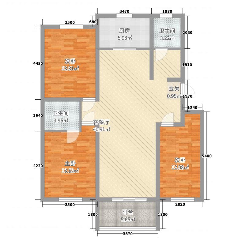 华庭苑15.00㎡户型3室2厅2卫1厨