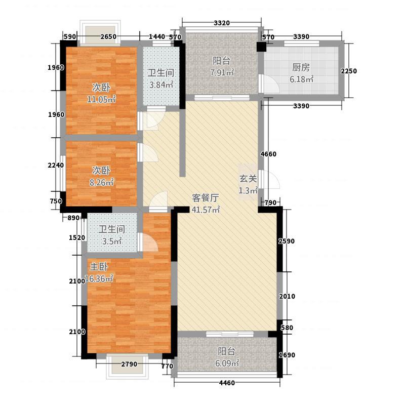华庭苑18.00㎡户型3室2厅2卫1厨