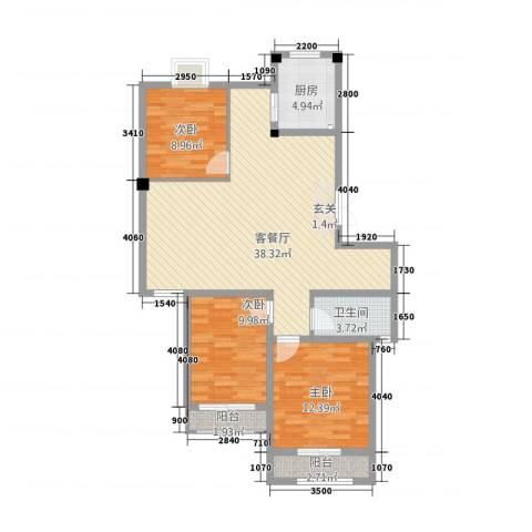 五一花园3室1厅1卫1厨118.00㎡户型图