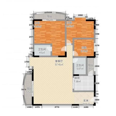 翡翠名都3室1厅2卫1厨132.36㎡户型图