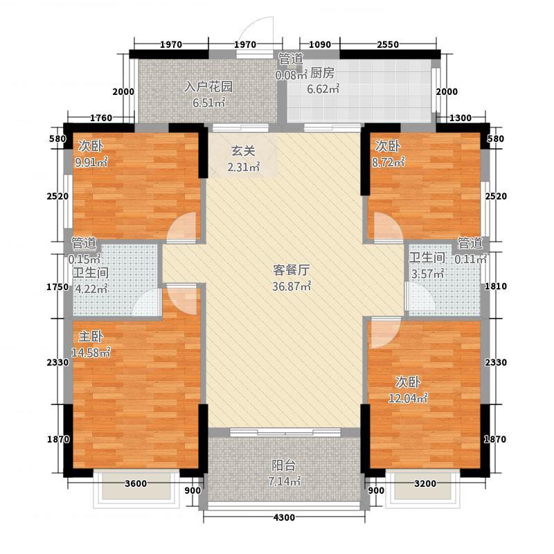 甘露・尚城花园135.00㎡A户型4室2厅2卫1厨