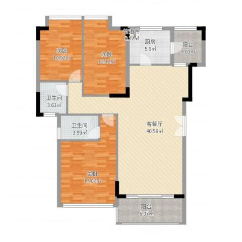 金地格林小城3室1厅2卫1厨148.00㎡户型图