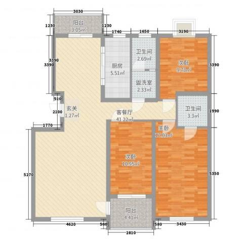 格林星城悦府3室2厅2卫1厨143.00㎡户型图