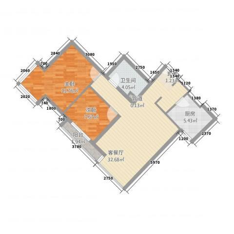 当代名筑2室1厅1卫1厨71.34㎡户型图
