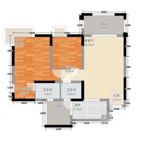 绿地翠谷2室1厅2卫1厨82.00㎡户型图