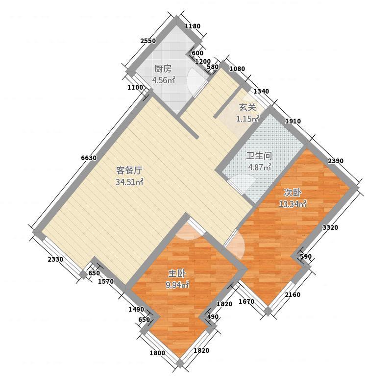 当代名筑88.57㎡15号楼B4户型2室2厅1卫1厨