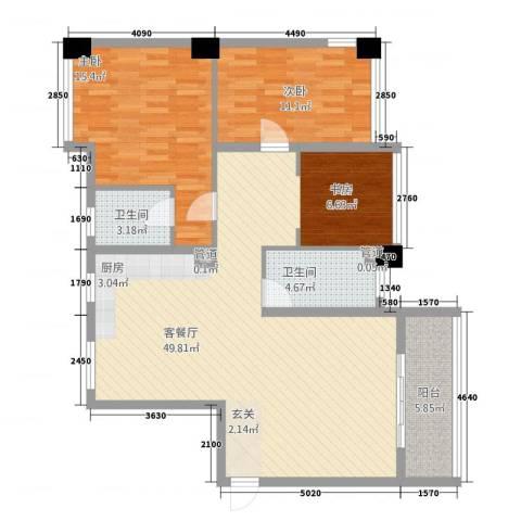金佳.芙蓉苑2室1厅2卫0厨127.00㎡户型图