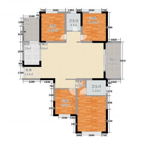 万景城4室1厅2卫1厨189.00㎡户型图
