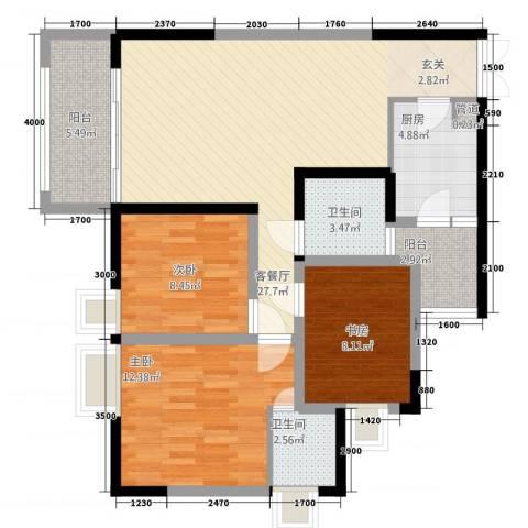 大众尚岭花园3室1厅2卫1厨76.18㎡户型图
