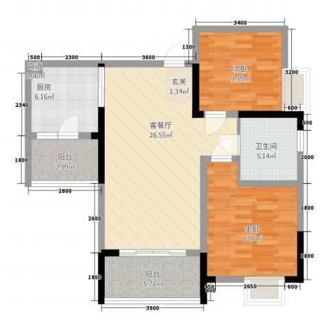 保利高尔夫华庭2室1厅1卫1厨88.00㎡户型图