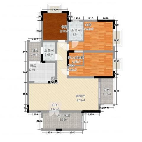 保利高尔夫华庭3室1厅2卫1厨96.61㎡户型图