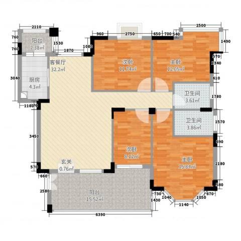 文华花园4室1厅2卫1厨153.00㎡户型图