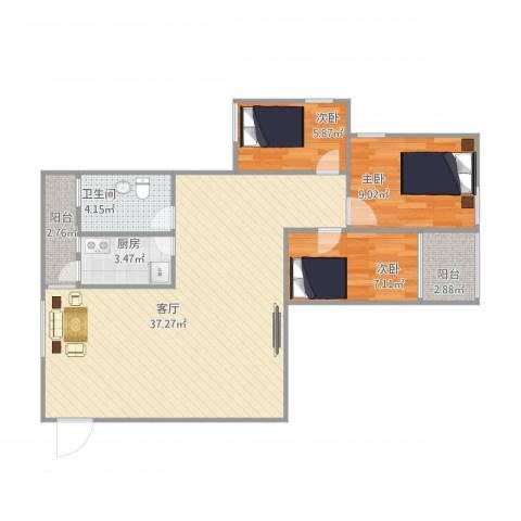 龙珠花园3室1厅1卫1厨98.00㎡户型图