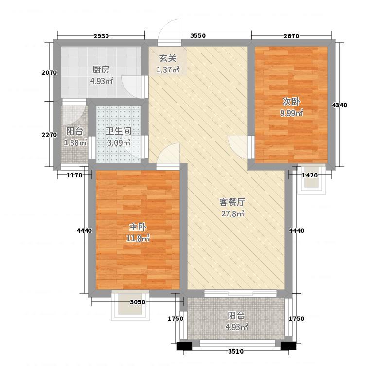 香水湾2224.20㎡G2户型2室2厅1卫1厨